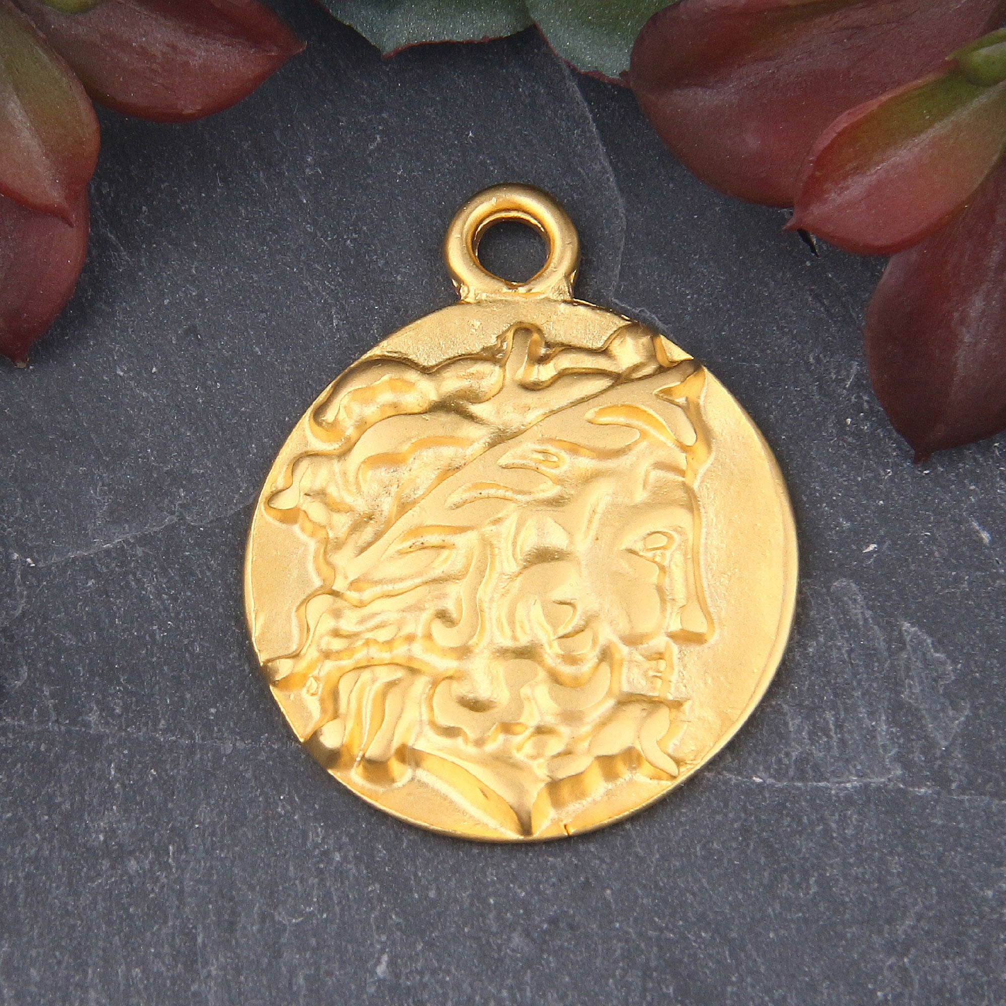 Replica Ancient Greek Warrior/King Coin Pendant, Greek Medallion, Old Greek Pendant,  Roman Coin Pendant, 1 piece  // GP-656