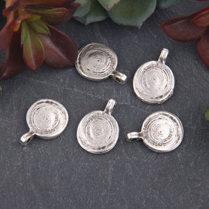 Silver Plated Textured Flat Disc Charms, Bracelet Charms, Earring Charms, Jewelry Supplies, 5 pieces // SCh-215