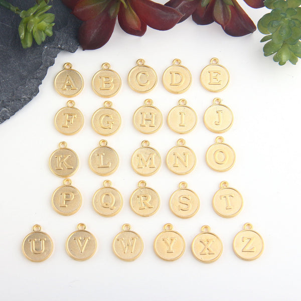 Letter C Charm, Letter Charms, Alphabet Charms, 24k Matte Gold Plated, Initial Charms, Jewelry Supplies, 1 piece // GCh-329