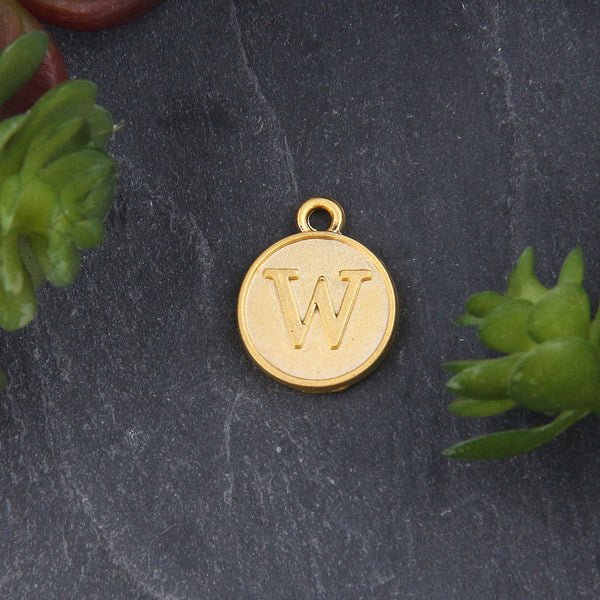 Letter W Charm, Letter Charms, Alphabet Charms, 24k Matte Gold Plated, Initial Charms, Jewelry Supplies, 1 piece // GCh-329