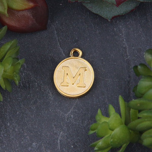 Letter M Charm, Letter Charms, Alphabet Charms, 24k Matte Gold Plated, Initial Charms, Jewelry Supplies, 1 piece // GCh-329