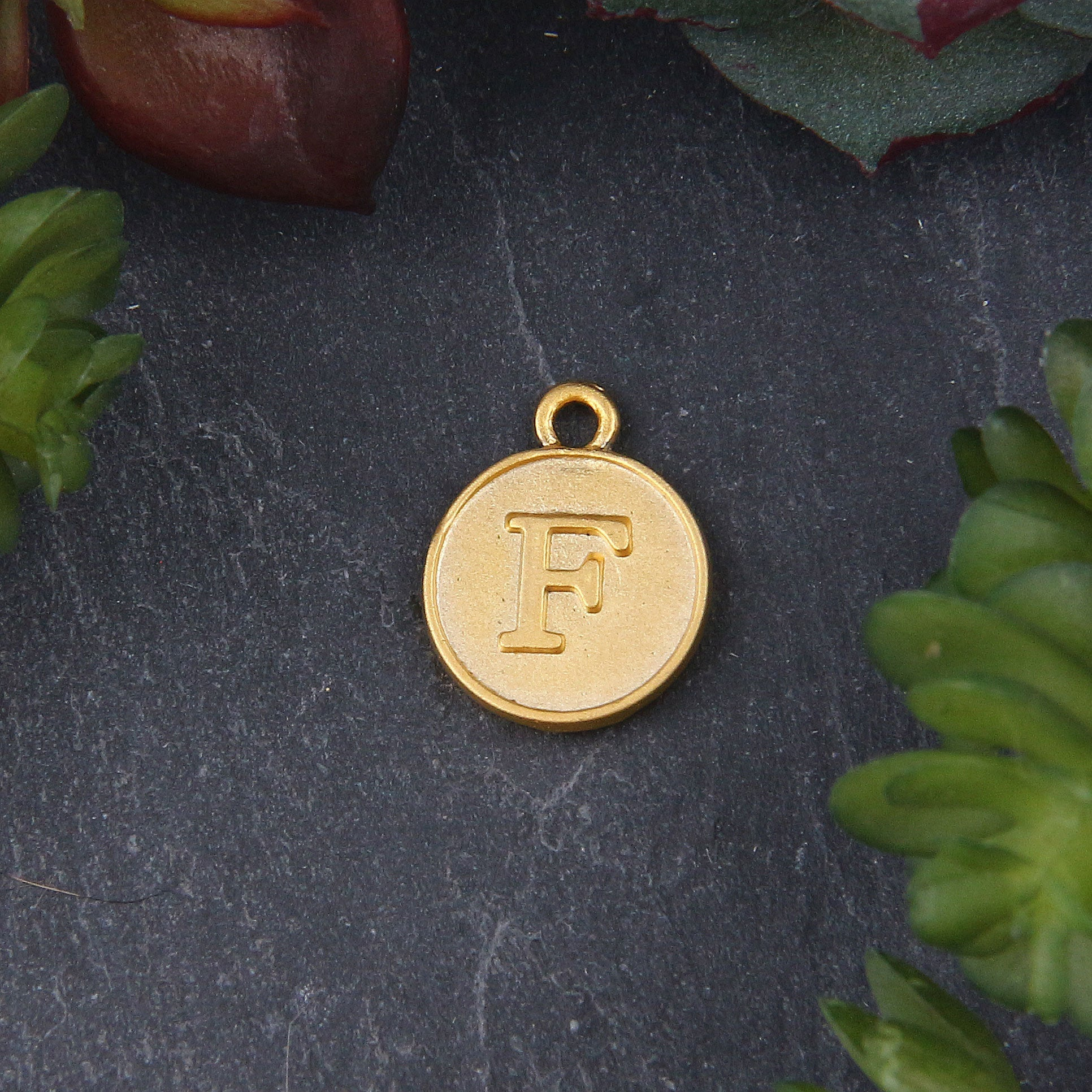 Letter F Charm, Letter Charms, Alphabet Charms, 24k Matte Gold Plated, Initial Charms, Jewelry Supplies, 1 piece // GCh-329