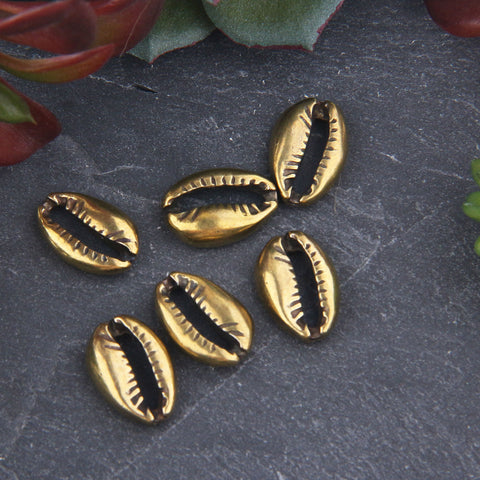 6 Bronze Plated Small Cowrie Sea Shell Bead Connectors, Nautical Beads, Seashell Charms, Jewelry Supplies, 9,5x14mm// ABC-044