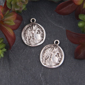 Silver Plated Replica Ancient Gladiator Coin Charms, Old Greek Soldier Medallion, Old Greek Coin Charms, 2 pieces // SCh-220