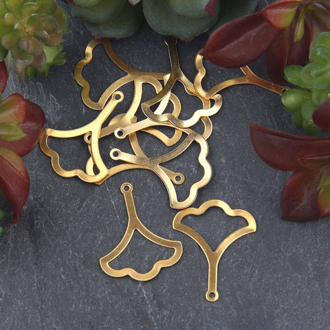 Raw Brass Cut out Gingko Leaf Charms, Leaf Charms, Raw Brass Leaf Charms, Raw Jewelry Supplies, 10 pieces // RAW-093