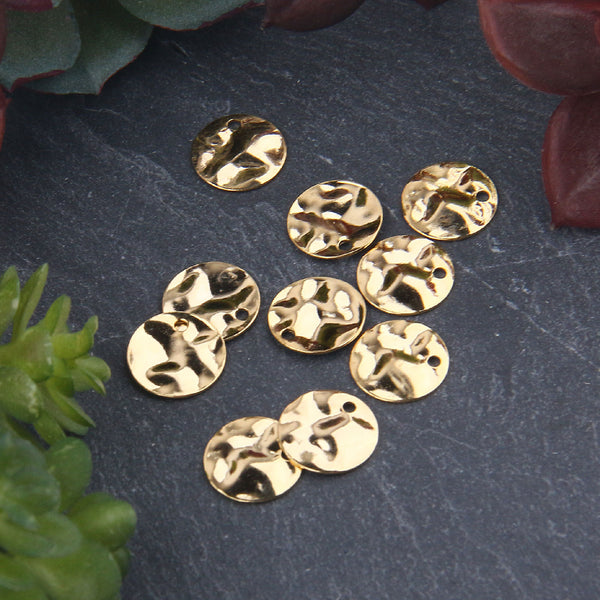 Shiny Gold Plated Round Flat Hammered Charms, Bracelet Charms, Earring Charms, Disc Charms, 10mm, Jewelry Supplies, 10 pieces // GCh-326
