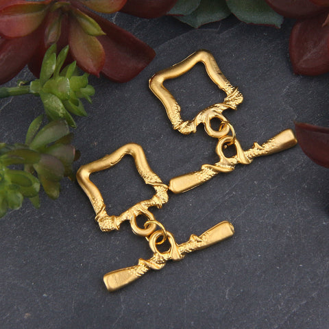 2 sets x Gold Plated Square Shaped Toggle Clasp | T Bar Clasp | Bracelet Clasp | Necklace Clasp | 32x31 mm  GF-190