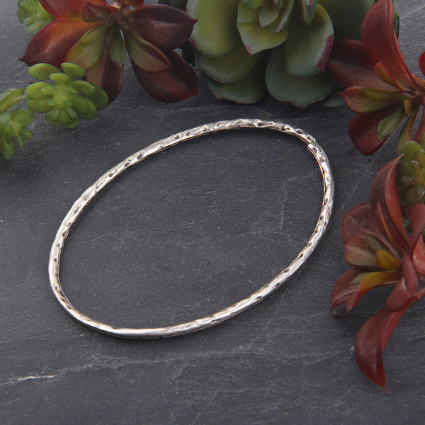 1 x Silver Plated Large Hammered Oval Ring Connector | Ring Link | Oval Ring | 57x80 mm | Jewelry Supplies // SC-247