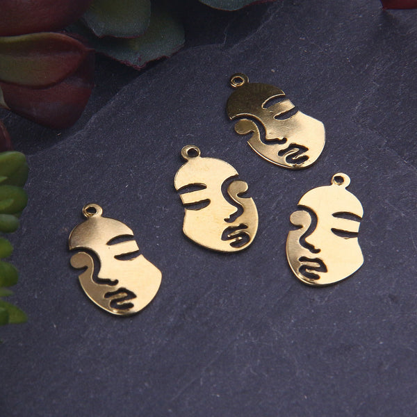 Raw Brass Mini Cut Out Face Mast Charms, Mini Face Charms, Raw Brass Face Charms, 4 pieces // RAW-094