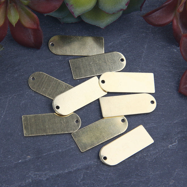 Raw Brass Long D shape Charm Pendant, Raw Jewelry, Raw Brass Blank, Stamping Blank, Blank Stamping, 10 pieces // RAW-098