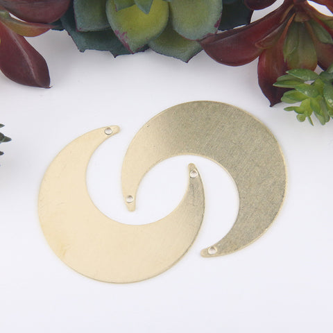 Raw Brass Moon Shaped Pendant, Raw Jewelry, Raw Brass Blank, Stamping Blank, Blank Stamping, 2 pieces // RAW-099