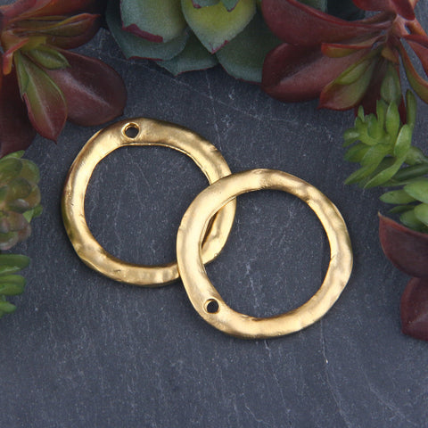 2 x 22k Matte Gold Plated Circle Flat Ring Connector | Ring Link | Connector Ring | 34mm | Jewelry Supplies // GC-582
