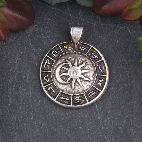 Antique Silver Zodiac Medallion Charms, Domed Horoscope Pendant, Zodiac Medallion, 1 piece // SP-430