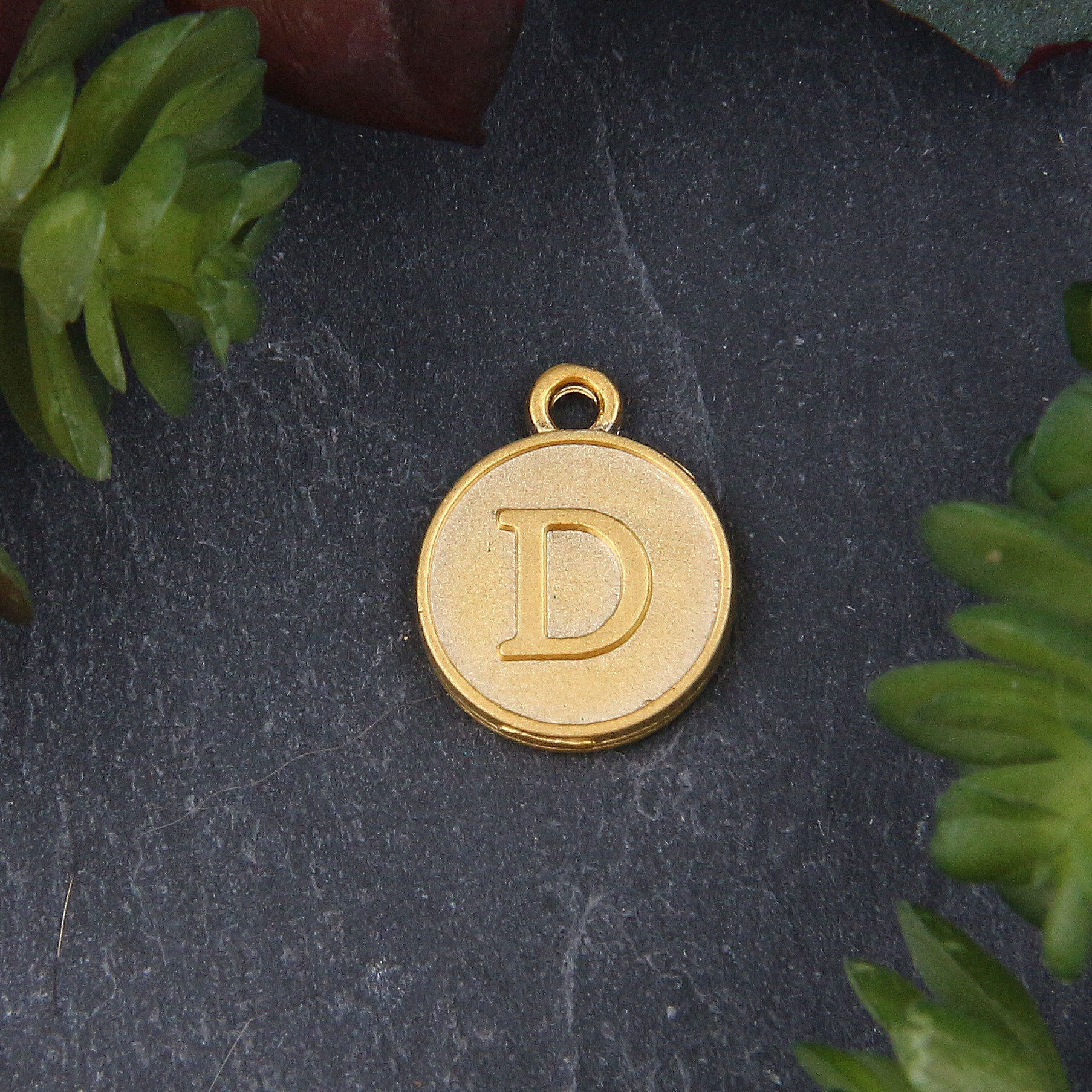Letter D Charm, Letter Charms, Alphabet Charms, 24k Matte Gold Plated, Initial Charms, Jewelry Supplies, 1 piece // GCh-329