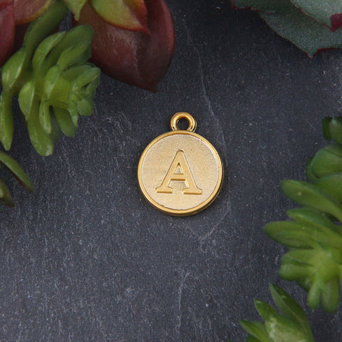 Letter A Charm, Letter Charms, Alphabet Charms, 24k Matte Gold Plated, Initial Charms, Jewelry Supplies, 1 piece // GCh-329
