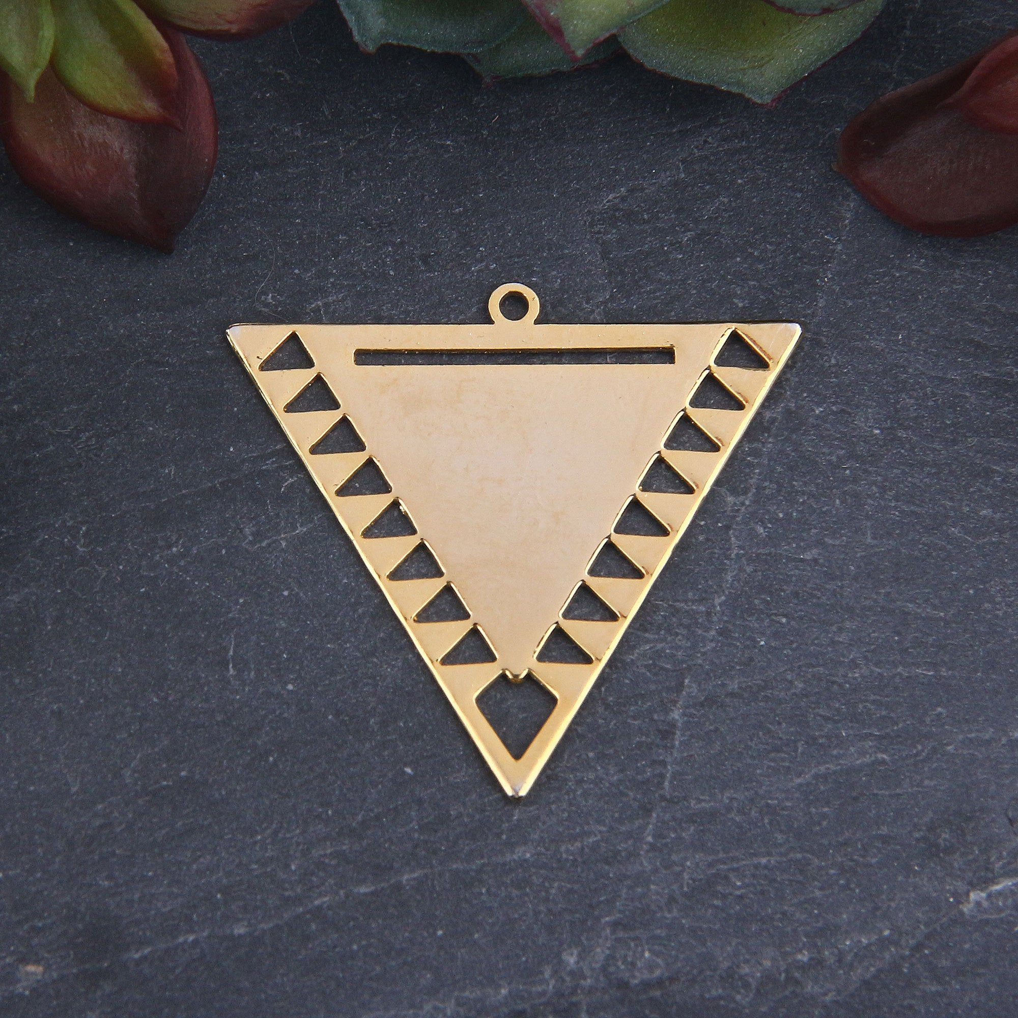 Triangle Gold Pendant For Miyuki Beading, Miyuki Bead Pendant, 1 piece // GP-670