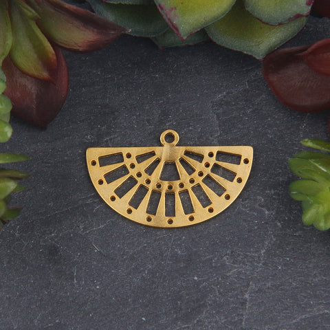 Semi Circle Gold Pendant For Miyuki Beading, Miyuki Bead Pendant, 1 piece  // GP-671