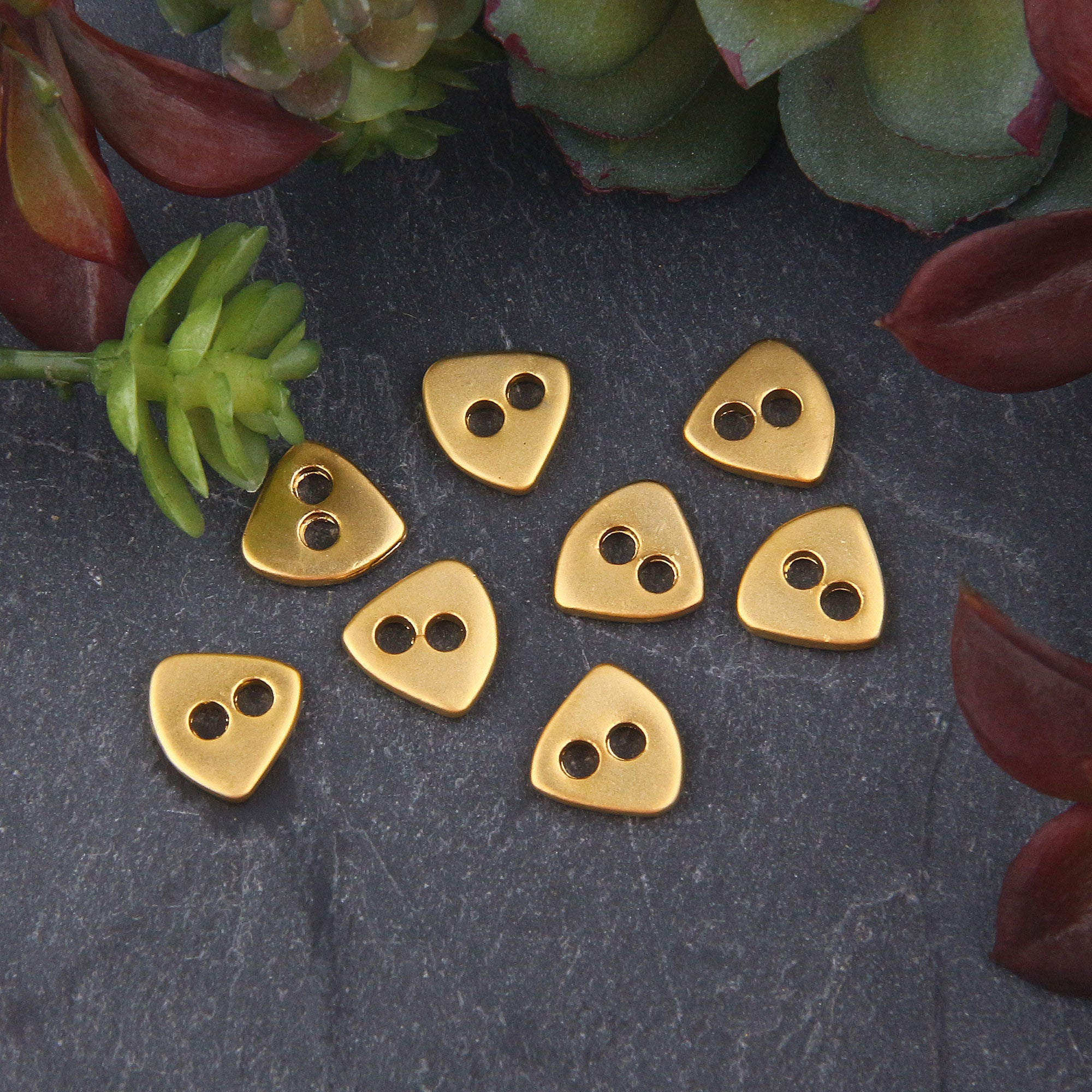 SALE, 8x Gold Plated Triangle Double Hole Button Beads | Gold Button Beads | Triangle Beads | 10x11mm | Jewelry Supplies // GB-287