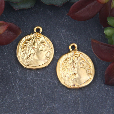 Gold Plated Replica Ancient Gladiator Coin Charms, Old Greek Soldier Medallion, Old Greek Coin Charms, 2 pieces // GCh-330