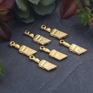 Gold Plated  Brush Charms, Paint Brush Charms, Craft Brush Charms, Jewelry Making Supplies, 6 pieces // GCh-332