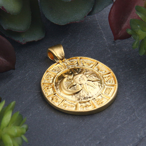 Gold Plated Zodiac Medallion Charms, Domed Horoscope Pendant, Zodiac Medallion, 1 piece // GP-662