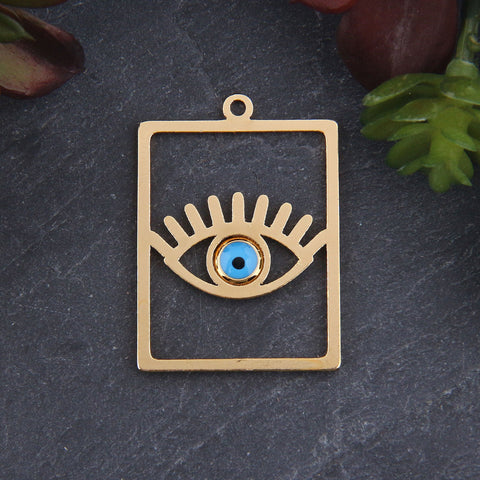 1 x Gold Plated Rectangular Evil Eye Pendant | Eye Pendant | Evil Eye Pendant | Rectangle Pendant | 23x32mm // GP-664