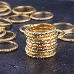 4 x Gold Ring Connectors | Textured RingGold Ring Links | 28mm | Jewelry Making Supplies //GC-593