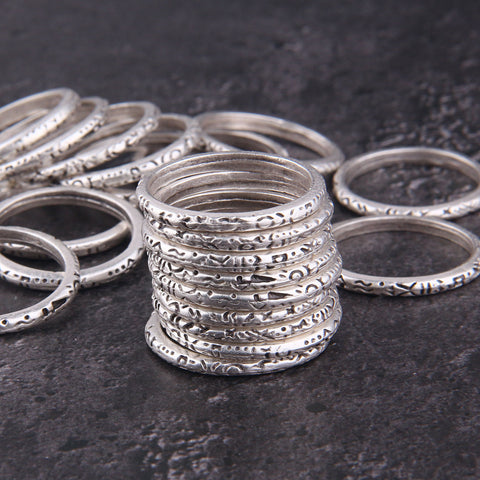 4 x Silver Ring Connectors | Textured Rings | Silver Ring Links | 28mm | Jewelry Making Supplies //SC-252