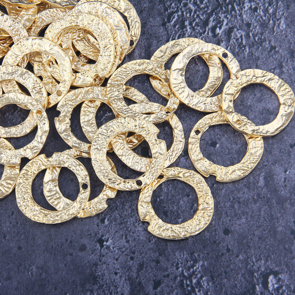 3 x Gold Ring Connectors | Textured RingGold Ring Links | 32 mm | Jewelry Making Supplies //GC-594