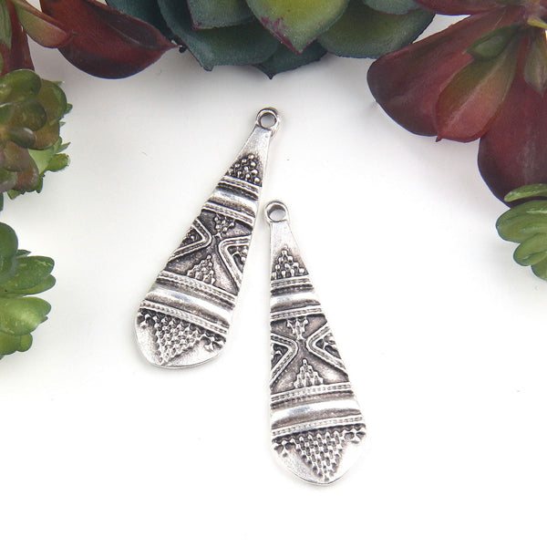 Silver Plated Tribal Teardrop Charm Pendants, Tribal Charms, Jewelry Making Supplies, 2 pieces // SP-433
