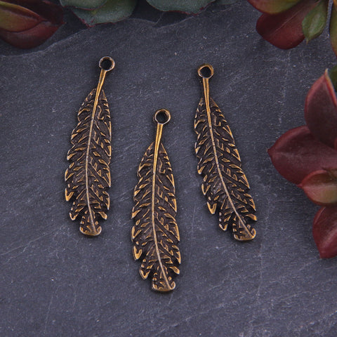 3 x Antique Bronze Leaf Charms | Leaf Zipper Pulls | Leaf Charms | 10x43mm | Jewelry Supplies // ABCh-045