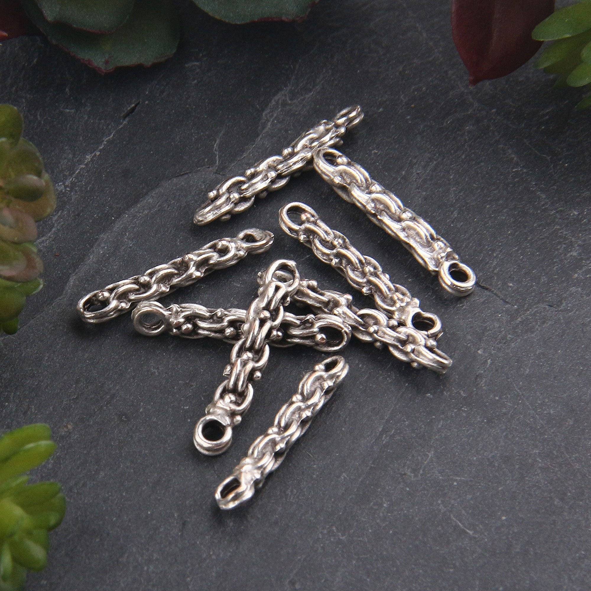 8 x Silver vPlated Stiff/Hard/Soldered Chain Connector | Chain Link | Silver Chain Link | 4x24mm | Jewelry Supplies // SC-249