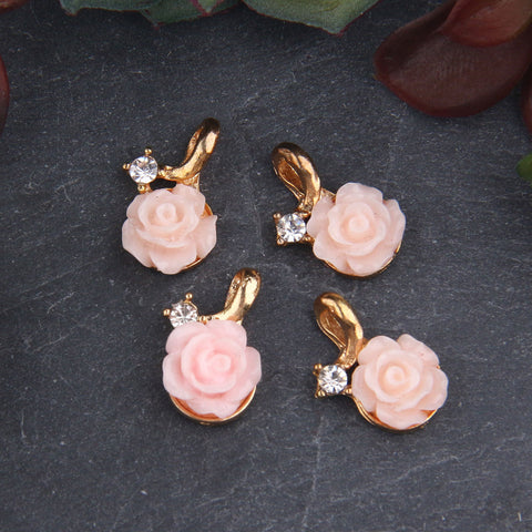 4 x Rose Gold Tone Acrylic Rose Charms | Rose Charms | Acrylic Charms | 10x16 mm | Jewelry Supplies // CH-020