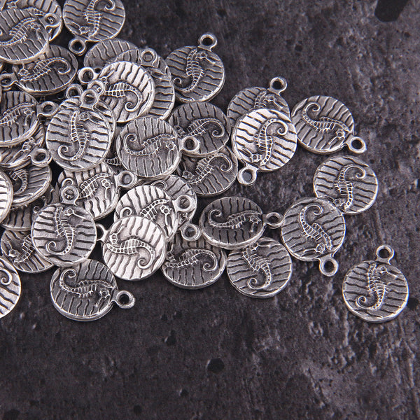 Silver PLated Round Seahorse Charms, Nautical Charms, Gold Seahorse Charms, Jewelry Supplies, 5 pieces // SCh-224