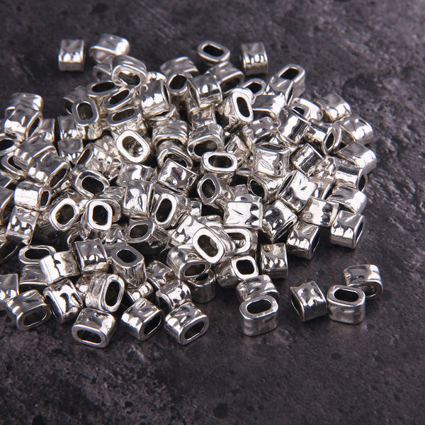 10x Shiny Silver Color Bead Spacers | Slider Beads | Silver Tone Spacers | 5x8mm | Jewelry Findings // SF-122