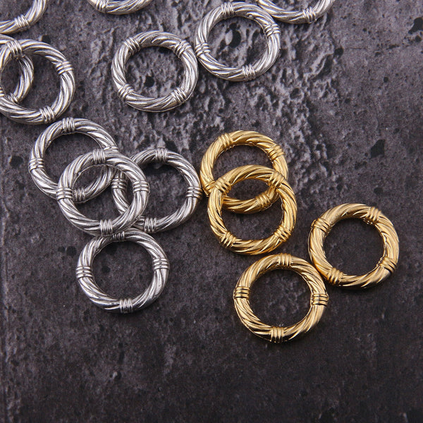 Rope Textured Circle, Gold Hoop Links, Twisted Circle Link, Twist Texture Link, Circle Loop, 19mm, 4 pcs // GC-595