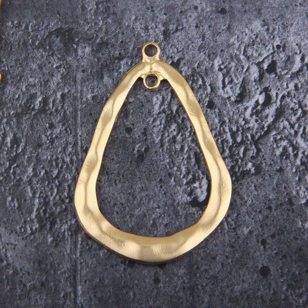 Gold Teardrop Pendant, Focal Pendant, Large Earring Component, Metal Drop Pendant, Organic Pendant, 66x44 mm, 1 pc // GP-679