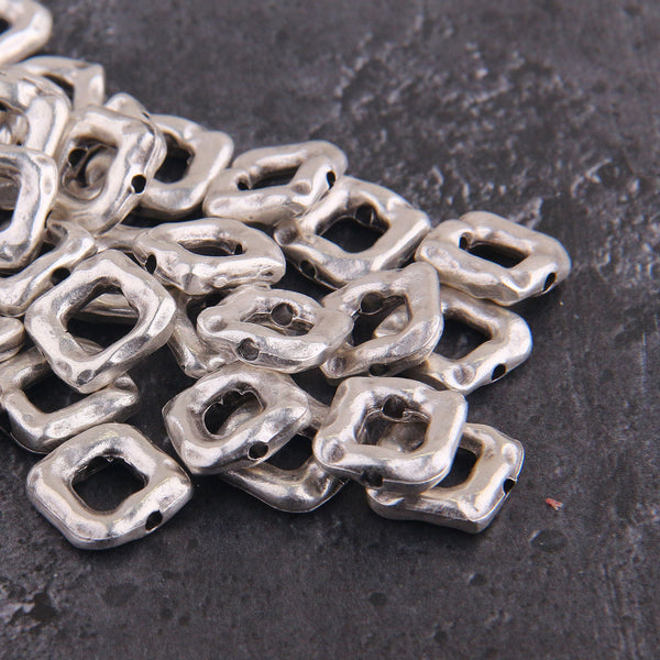 Square Slider Beads, Silver Square Beads, Bead Spacers, Bracelet Beads, 14mm, 4 pieces // SB-145