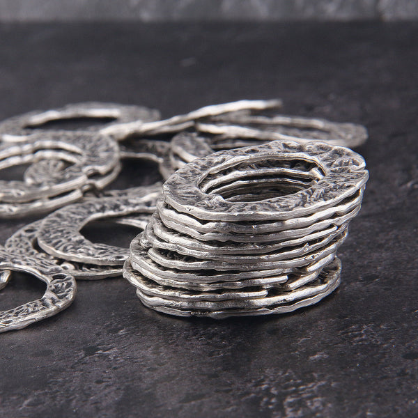 3 x Silver Ring Connectors | Textured Ring| Silver Ring Links | 32 mm | Jewelry Making Supplies //SC-253
