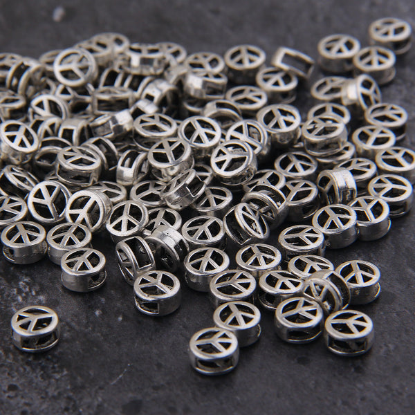 Peace Bead Sliders, Peace Sign, Silver Peace Beads, Bead Spacers, Sign Beads, Silver Color, Mini Bracelet Sliders, 15 pcs, 7mm // SB-147