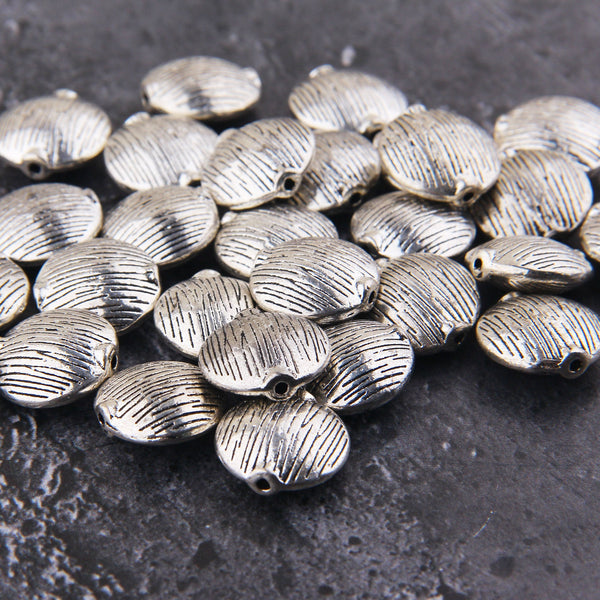 Striped Pillow Beads, Plump Beads, Silver Tone Round Beads, Silver Plump Beads, 3 pieces , 16mm // SB-150