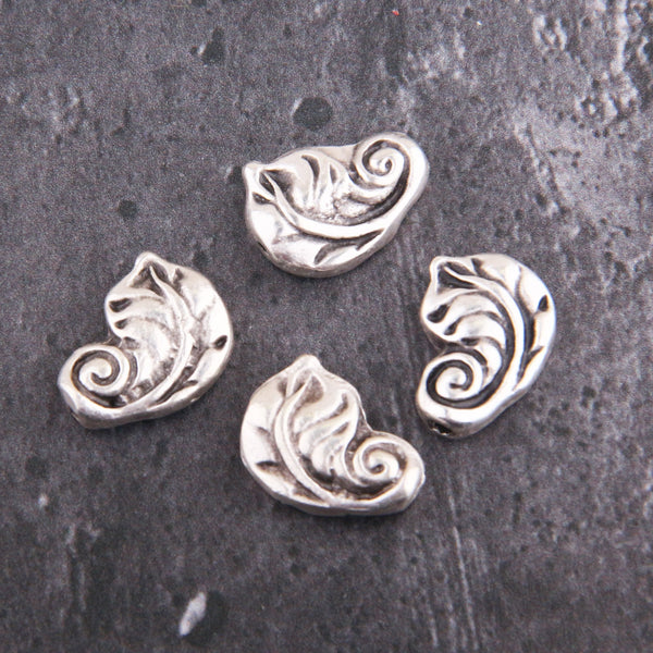 Leaf Plump Beads, Silver Slider Beads, Silver Bead Sliders, Leaf Beads, 4 pcs, 12x17 mm // SB-151