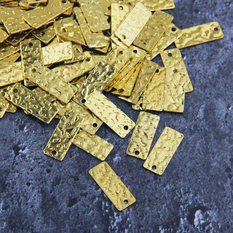 Raw Brass Rectangle Charms, Raw Brass Charms, Hammered Rectangle  10 pcs, 8x20 mm // RAW-120