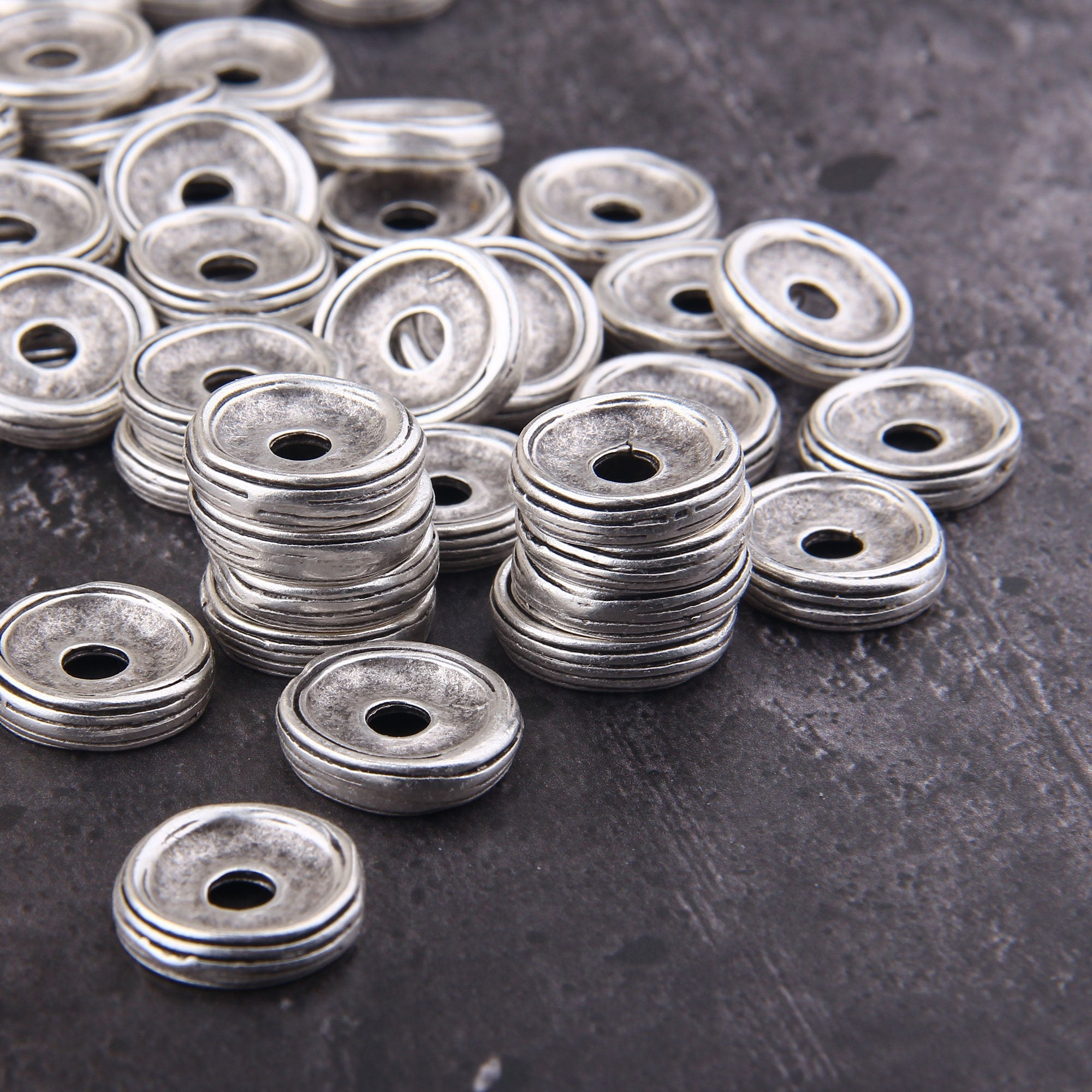 Rondelle Spacer Beads, Chunky Disc Beads, Silver Spacer Beads, Disc Saucer Beads, 4 pcs, 20 mm // SB-152