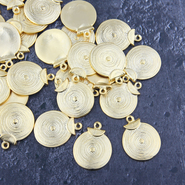 Tribal Coin Pendants, Round Flat Pendants, Round Flat Charms, Gold Flat Pendants, Textured Tribal Charms, 2 pcs, 22x29mm // GP-683
