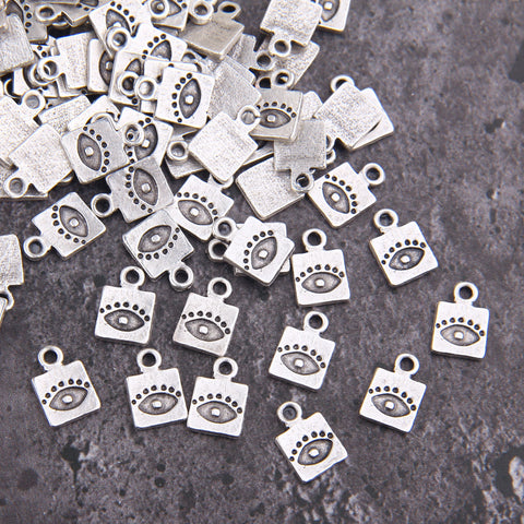 Evil Eye Charms, Evil Eye Drops, Luck Charms, Protection Charms, Good Luck Drops, Silver Evil Eye Charms, 10 pcs, 9x13 mm // SCh-237