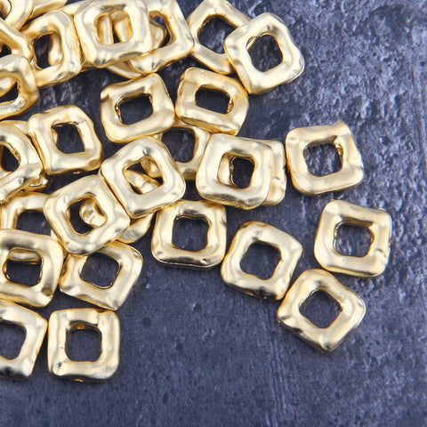 Square Slider Beads, Gold Square Beads, Bead Spacers, Bracelet Beads, 14mm, 4 pieces // GB-288
