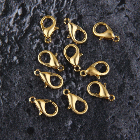 Gold Parrot Clasps, Medium Lobster Clasps, Bracelet Clasps, Necklace Clasps, Lobster Claws, 10 pcs, 7x12 mm // GF-195