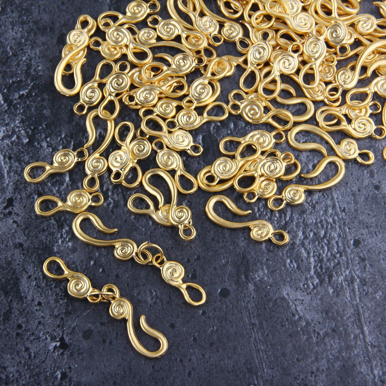 Hook and Eye Clasps, Gold Hook Clasps, Clasp Findings, Gold Hook and Eye, 2 sets, 9x52mm // GF-197