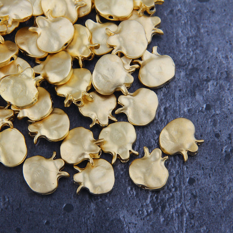 Pomegranade Beads, Fruit Slider Beads, Metal Pomengranade Beads, Gold Slider Beads, 4 pcs, 15x15 mm // GB-290